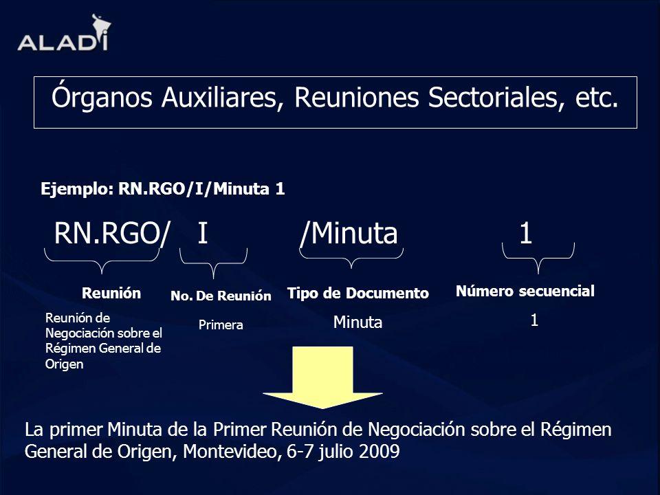 Órganos Auxiliares, Reuniones Sectoriales, etc. RN.RGO/ I /Minuta 1 Reunión Reunión de Negociación sobre el Régimen General de Origen La primer Minuta