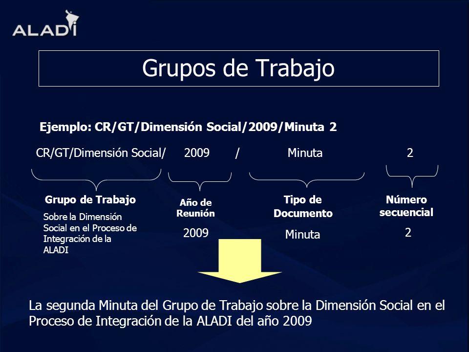 Grupos de Trabajo CR/GT/Dimensión Social/ 2009 / Minuta 2 Grupo de Trabajo Sobre la Dimensión Social en el Proceso de Integración de la ALADI La segun
