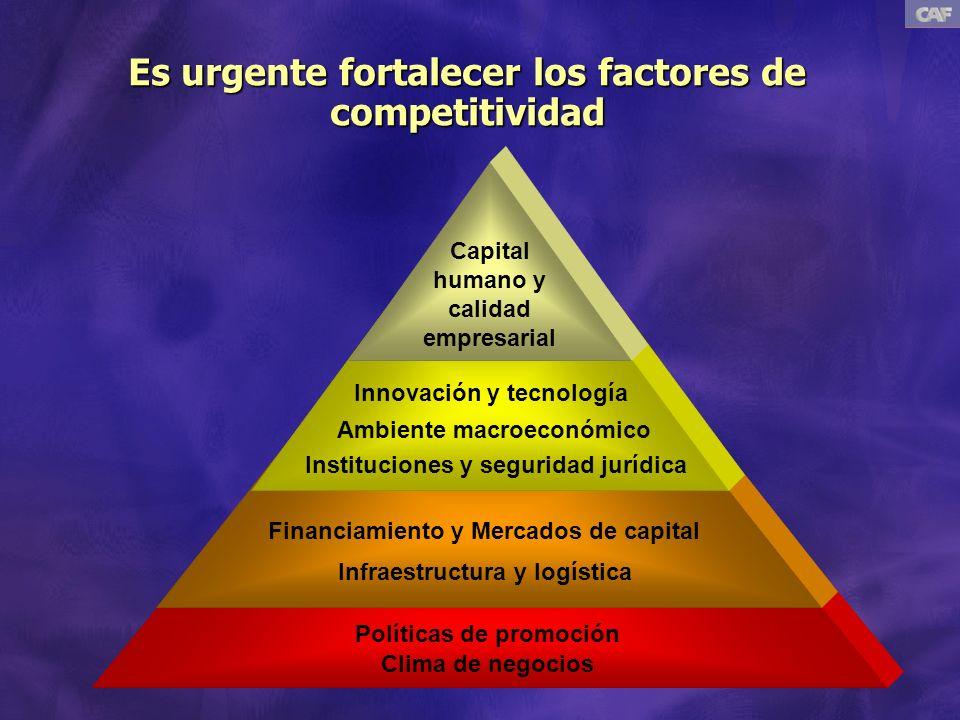Es urgente fortalecer los factores de competitividad Innovación y tecnología Ambiente macroeconómico Instituciones y seguridad jurídica Financiamiento y Mercados de capital Infraestructura y logística Políticas de promoción Clima de negocios Capital humano y calidad empresarial