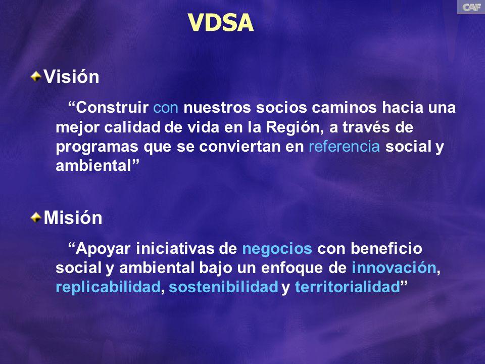 VDSA Visión Construir con nuestros socios caminos hacia una mejor calidad de vida en la Región, a través de programas que se conviertan en referencia social y ambiental Misión Apoyar iniciativas de negocios con beneficio social y ambiental bajo un enfoque de innovación, replicabilidad, sostenibilidad y territorialidad