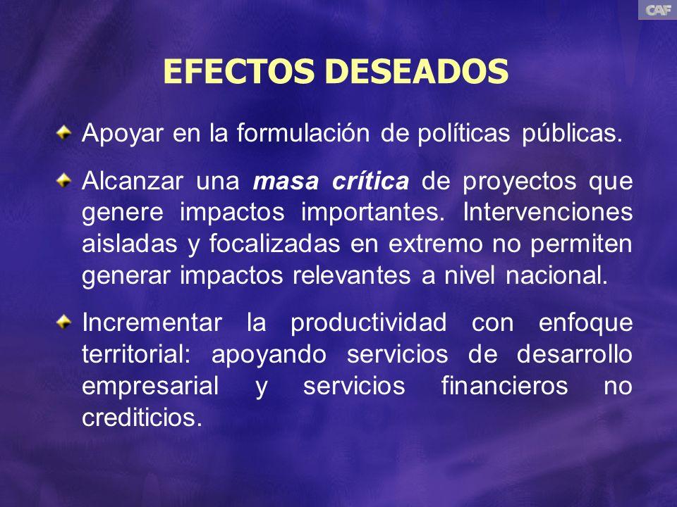 EFECTOS DESEADOS Apoyar en la formulación de políticas públicas.