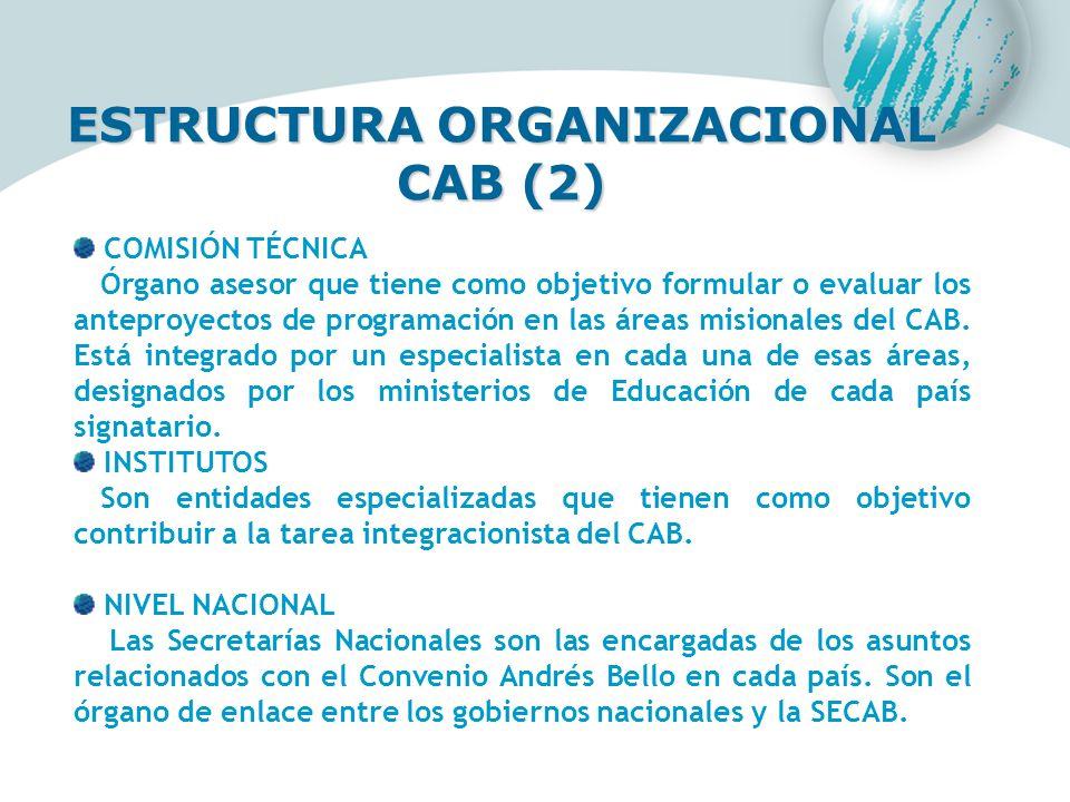 ESTRUCTURA ORGANIZACIONAL CAB (2) COMISIÓN TÉCNICA Órgano asesor que tiene como objetivo formular o evaluar los anteproyectos de programación en las á