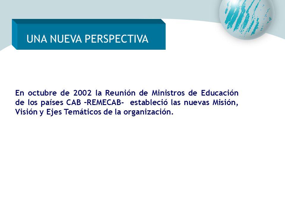 UNA NUEVA PERSPECTIVA En octubre de 2002 la Reunión de Ministros de Educación de los países CAB –REMECAB- estableció las nuevas Misión, Visión y Ejes