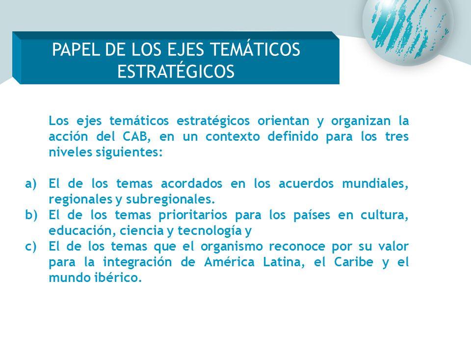 Los ejes temáticos estratégicos orientan y organizan la acción del CAB, en un contexto definido para los tres niveles siguientes: a)El de los temas ac