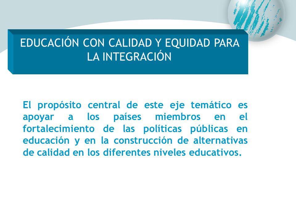 El propósito central de este eje temático es apoyar a los países miembros en el fortalecimiento de las políticas públicas en educación y en la constru