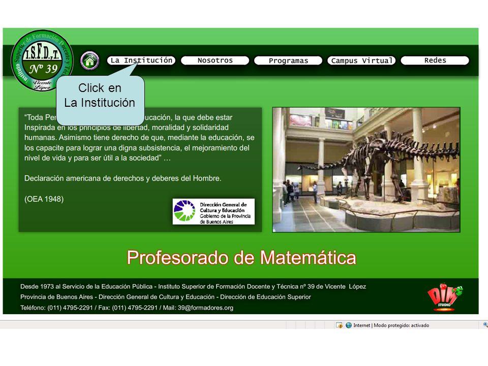 Click en La Institución