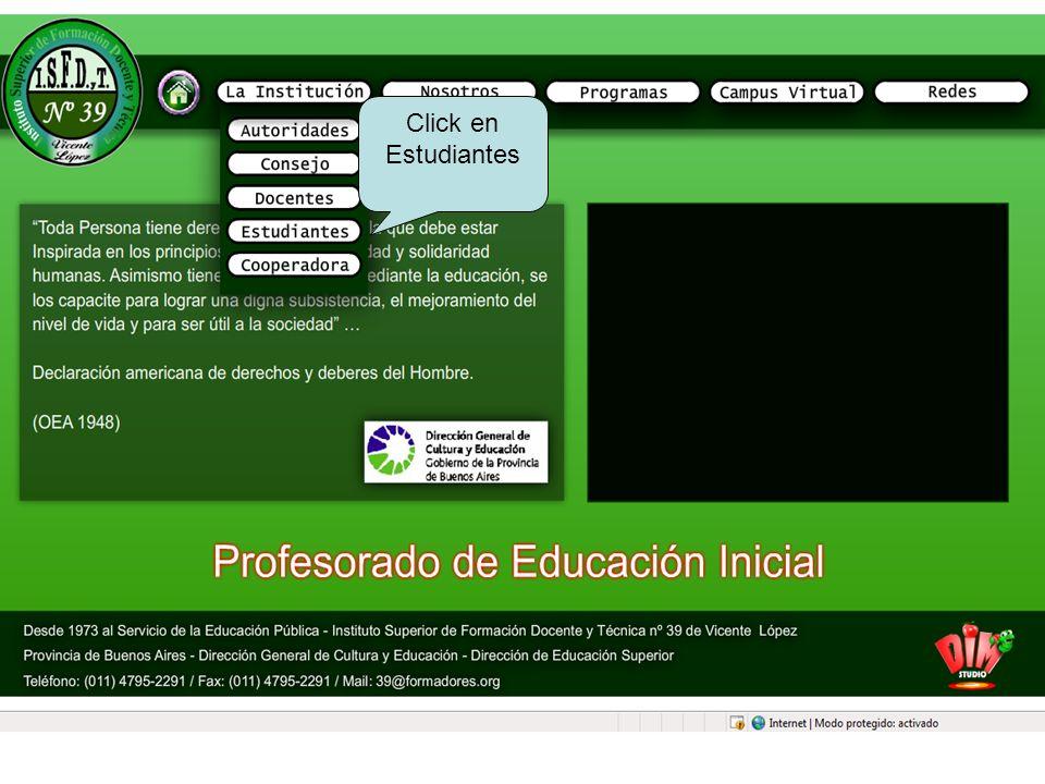 Click en Estudiantes