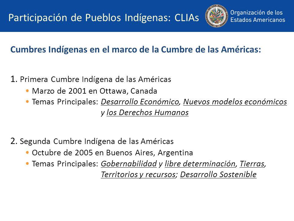 Participación de Pueblos Indígenas: CLIAs Cumbres Indígenas en el marco de la Cumbre de las Américas: 1. Primera Cumbre Indígena de las Américas Marzo