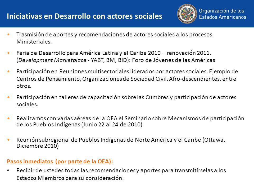 Iniciativas en Desarrollo con actores sociales Trasmisión de aportes y recomendaciones de actores sociales a los procesos Ministeriales. Feria de Desa
