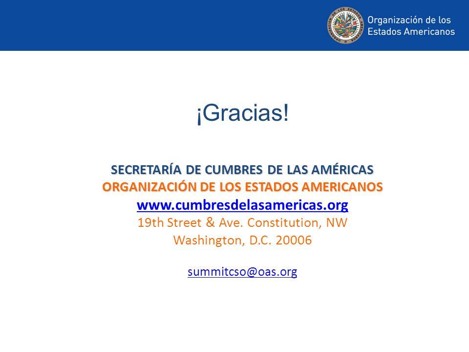¡Gracias! SECRETARÍA DE CUMBRES DE LAS AMÉRICAS ORGANIZACIÓN DE LOS ESTADOS AMERICANOS www.cumbresdelasamericas.org 19th Street & Ave. Constitution, N