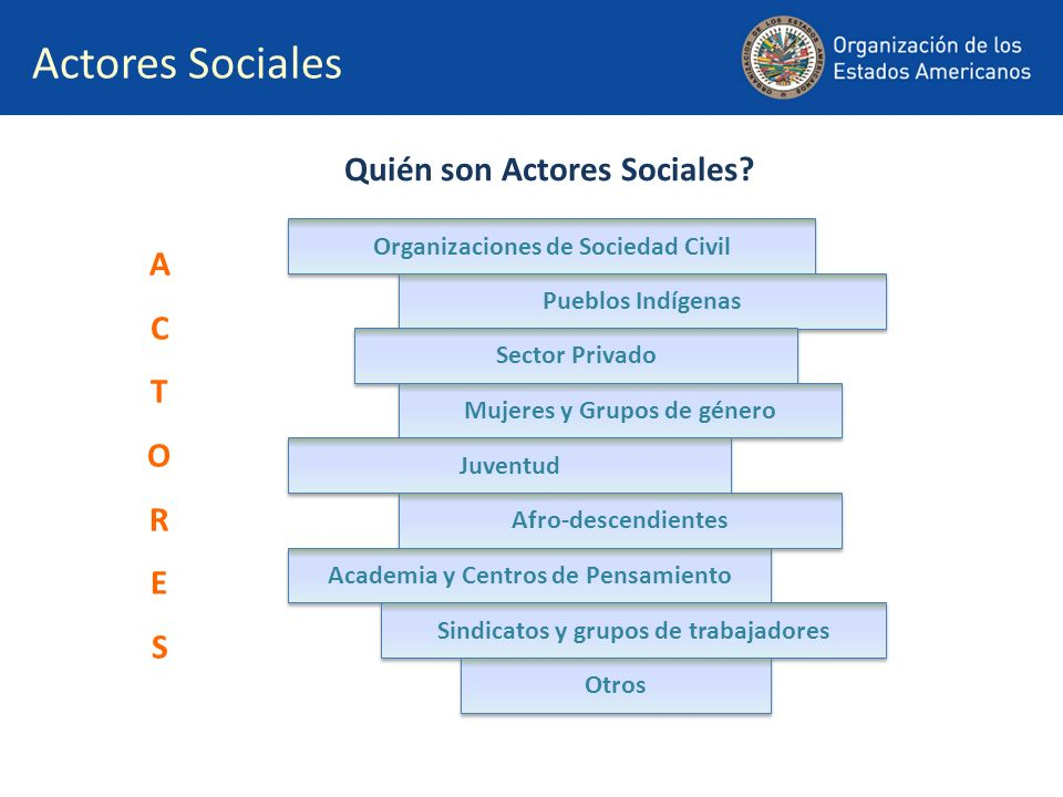 La participación de los actores sociales se ha venido consolidando mediante… Foros y Reuniones de consulta, tanto presenciales como virtuales Introducción de recomendaciones en las reuniones de los Estados Miembros (GRIC, CISC y Reuniones Ministeriales Interamericanas) Diálogos entre los Estados Miembros y los representantes de los Actores Sociales en el marco de la Cumbre Acompañamiento a los Estados en la implementación de compromisos adquiridos Desarrollo de la e-participación: Explorando nuevas y efectivas formas para involucrar a los actores sociales en las actividades del proceso de Cumbres.