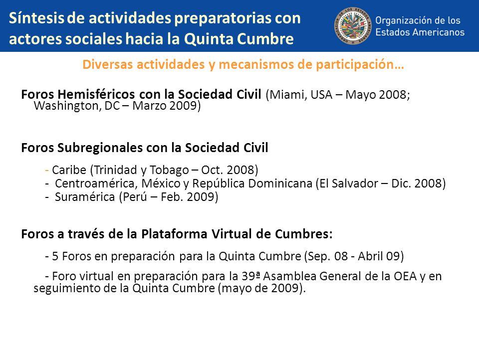 Síntesis de actividades preparatorias con actores sociales hacia la Quinta Cumbre Diversas actividades y mecanismos de participación… Foros Hemisféric