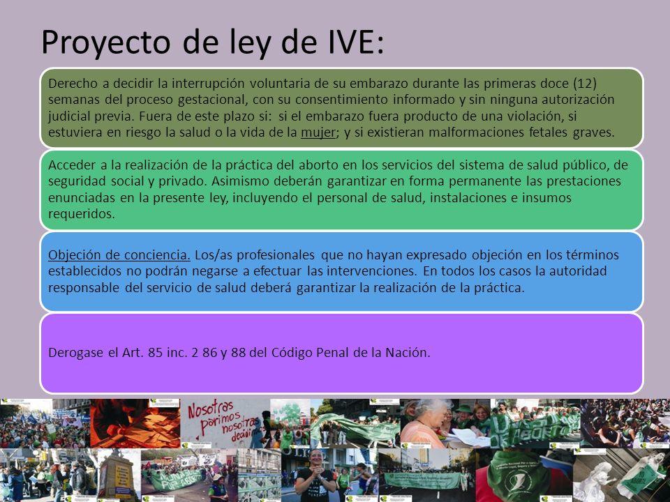 Proyecto de ley de IVE: Derecho a decidir la interrupción voluntaria de su embarazo durante las primeras doce (12) semanas del proceso gestacional, con su consentimiento informado y sin ninguna autorización judicial previa.