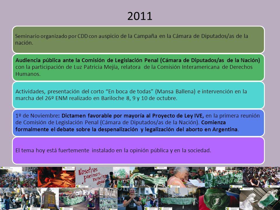 2011 Seminario organizado por CDD con au spicio de la Campaña en la Cámara de Diputados/as de la nación.