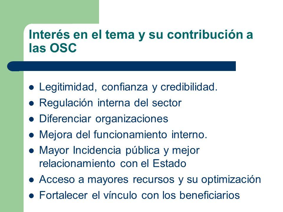 Interés en el tema y su contribución a las OSC Legitimidad, confianza y credibilidad. Regulación interna del sector Diferenciar organizaciones Mejora