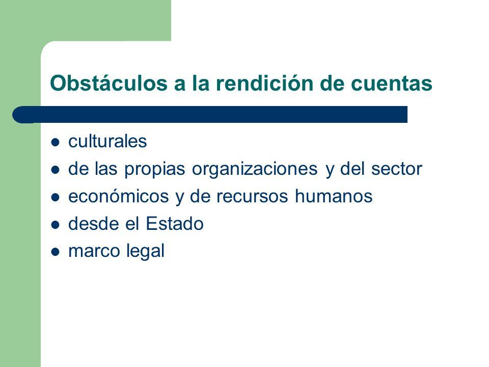 Obstáculos a la rendición de cuentas culturales de las propias organizaciones y del sector económicos y de recursos humanos desde el Estado marco lega