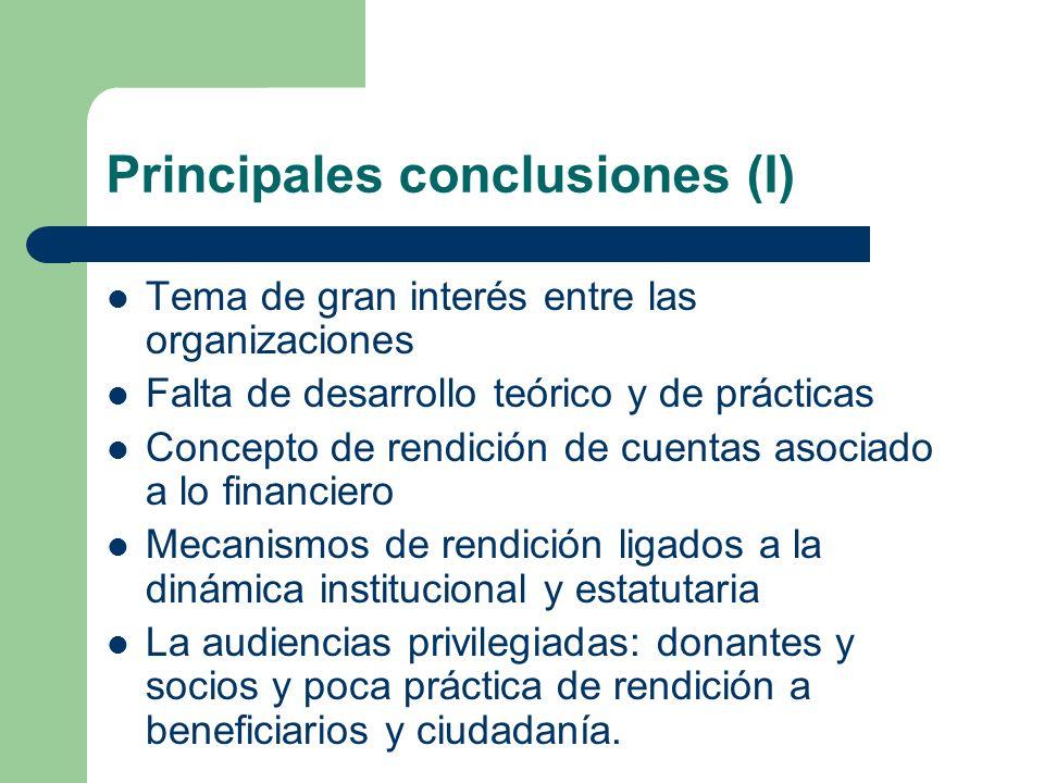 Principales conclusiones (I) Tema de gran interés entre las organizaciones Falta de desarrollo teórico y de prácticas Concepto de rendición de cuentas