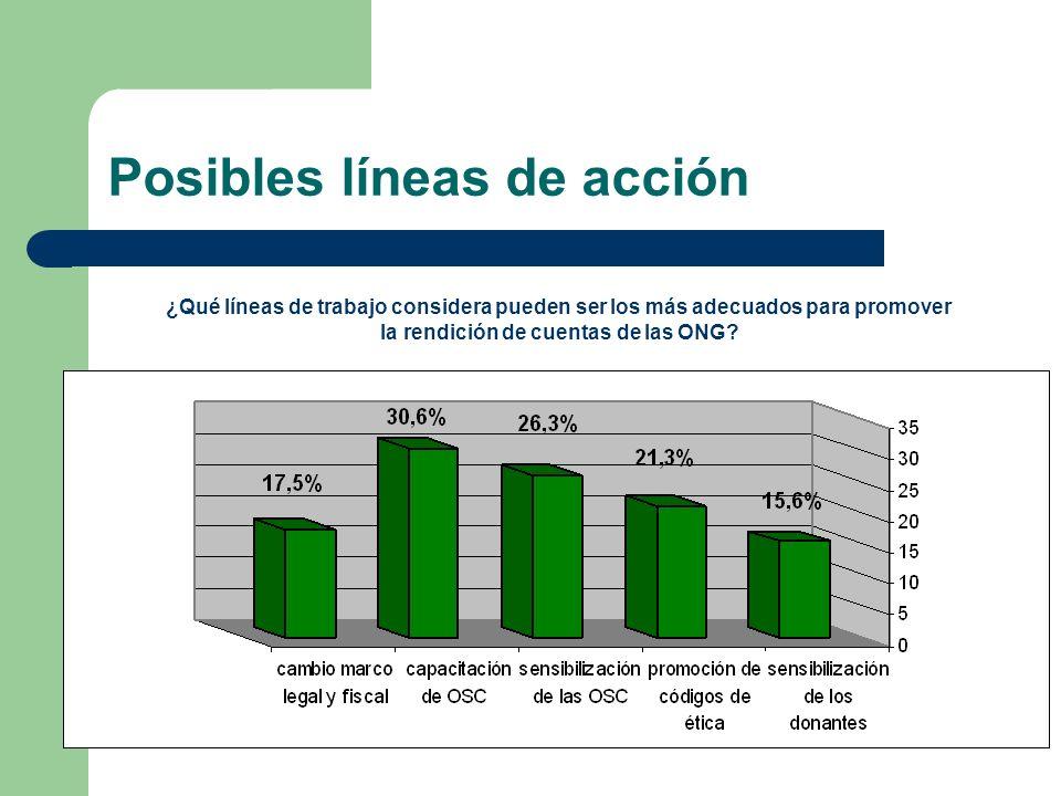 Posibles líneas de acción ¿Qué líneas de trabajo considera pueden ser los más adecuados para promover la rendición de cuentas de las ONG?