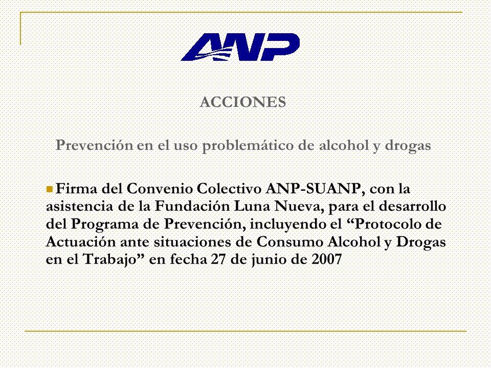 ACCIONES Prevención en el uso problemático de alcohol y drogas Firma del Convenio Colectivo ANP-SUANP, con la asistencia de la Fundación Luna Nueva, para el desarrollo del Programa de Prevención, incluyendo el Protocolo de Actuación ante situaciones de Consumo Alcohol y Drogas en el Trabajo en fecha 27 de junio de 2007