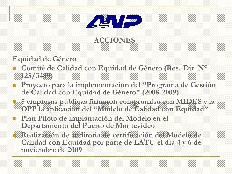 ACCIONES Equidad de Género Comité de Calidad con Equidad de Género (Res.