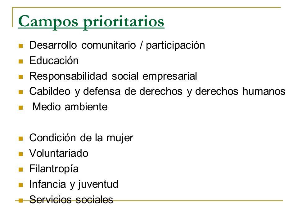 Campos prioritarios Desarrollo comunitario / participación Educación Responsabilidad social empresarial Cabildeo y defensa de derechos y derechos huma