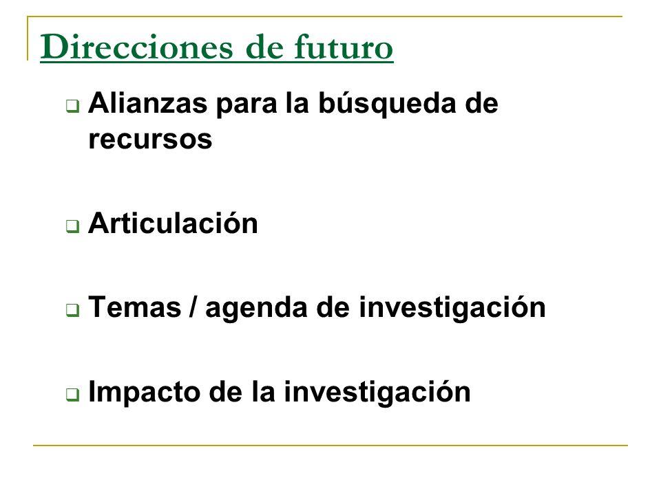 Direcciones de futuro Alianzas para la búsqueda de recursos Articulación Temas / agenda de investigación Impacto de la investigación