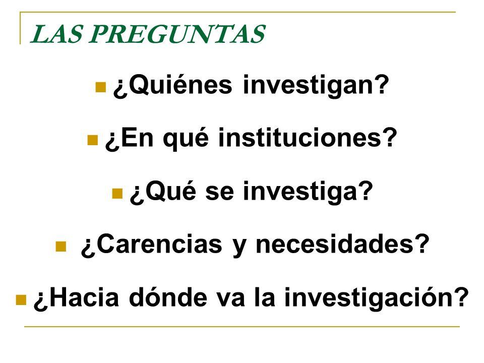 LAS PREGUNTAS ¿Quiénes investigan? ¿En qué instituciones? ¿Qué se investiga? ¿Carencias y necesidades? ¿Hacia dónde va la investigación?