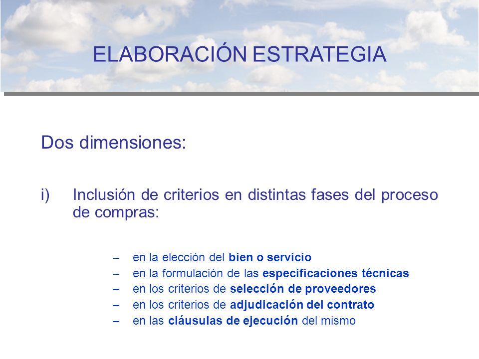 Dos dimensiones: i)Inclusión de criterios en distintas fases del proceso de compras: –en la elección del bien o servicio –en la formulación de las esp