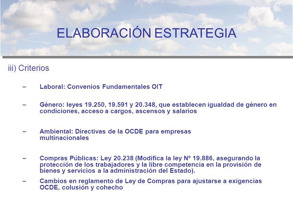 iii) Criterios –Laboral: Convenios Fundamentales OIT –Género: leyes 19.250, 19.591 y 20.348, que establecen igualdad de género en condiciones, acceso
