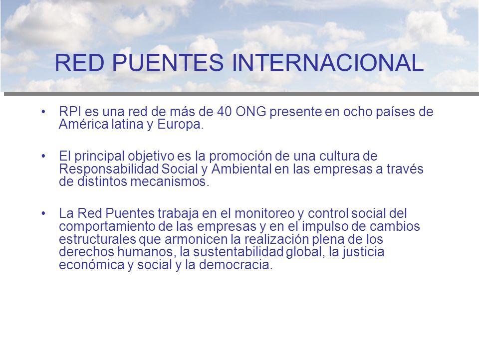 RED PUENTES INTERNACIONAL RPI es una red de más de 40 ONG presente en ocho países de América latina y Europa. El principal objetivo es la promoción de