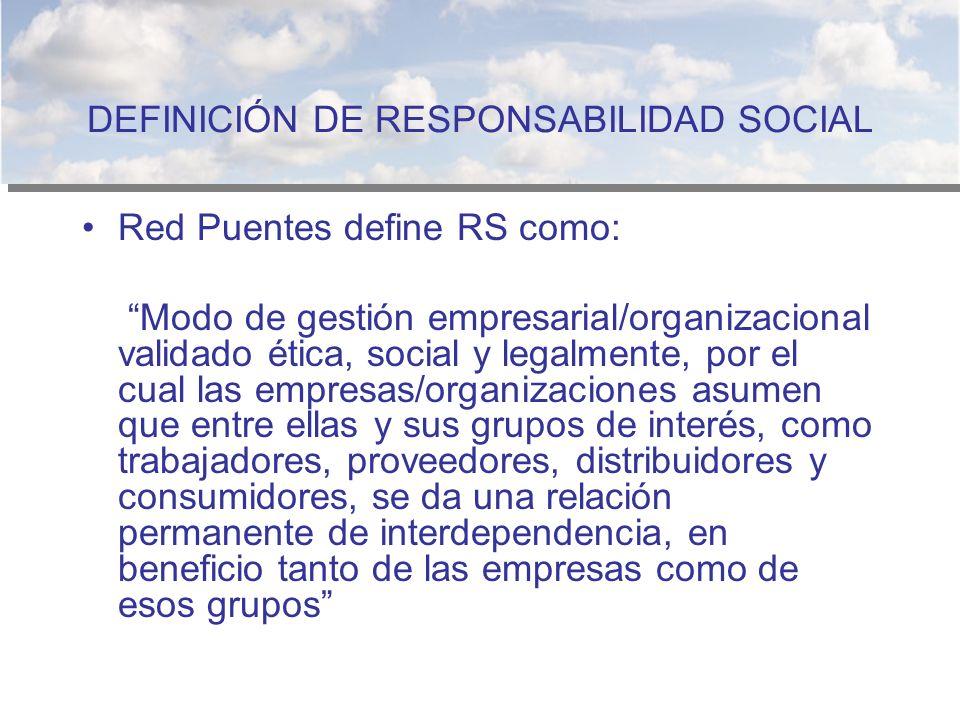 DEFINICIÓN DE RESPONSABILIDAD SOCIAL Red Puentes define RS como: Modo de gestión empresarial/organizacional validado ética, social y legalmente, por e