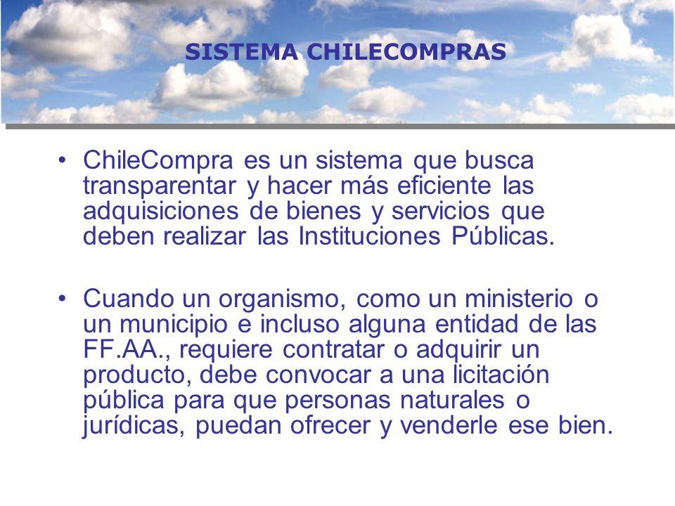 ChileCompra es un sistema que busca transparentar y hacer más eficiente las adquisiciones de bienes y servicios que deben realizar las Instituciones P