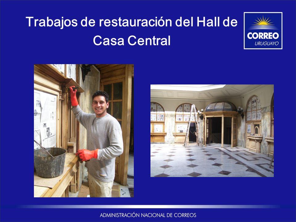 Trabajos de restauración del Hall de Casa Central
