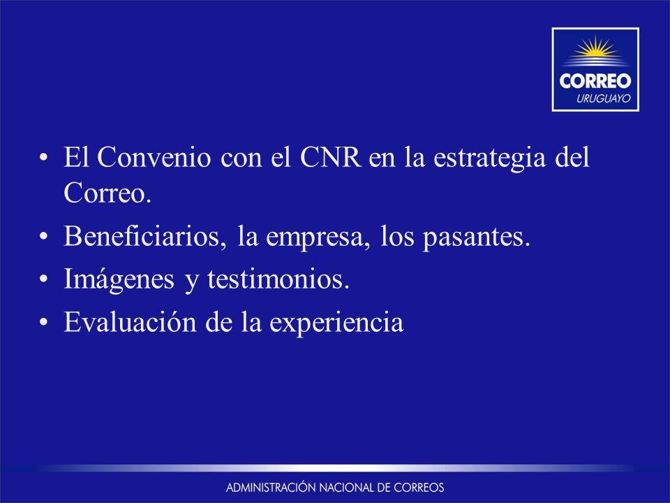 El Convenio con el CNR en la estrategia del Correo. Beneficiarios, la empresa, los pasantes. Imágenes y testimonios. Evaluación de la experiencia