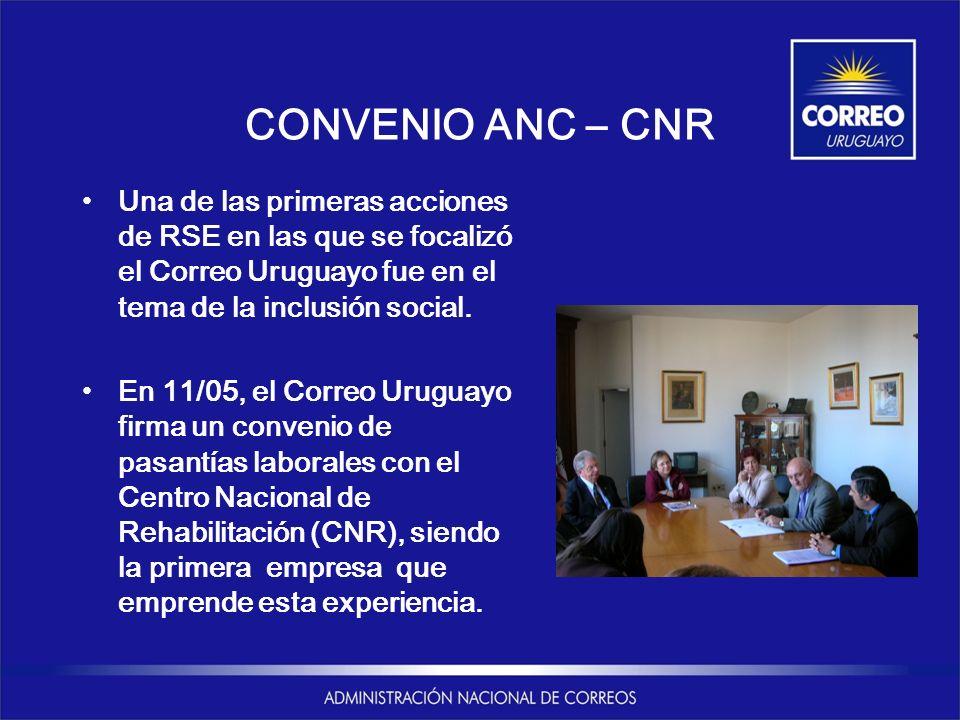 CONVENIO ANC – CNR Una de las primeras acciones de RSE en las que se focalizó el Correo Uruguayo fue en el tema de la inclusión social. En 11/05, el C
