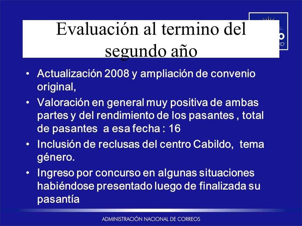Evaluación al termino del segundo año Actualización 2008 y ampliación de convenio original, Valoración en general muy positiva de ambas partes y del r