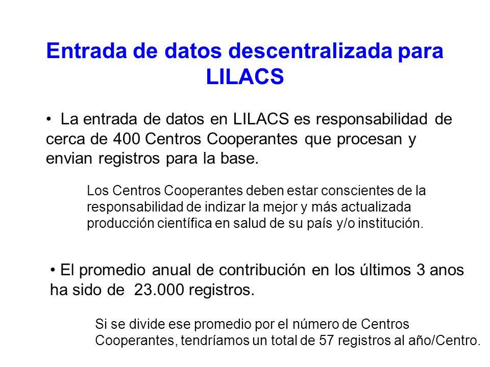Entrada de datos descentralizada para LILACS La entrada de datos en LILACS es responsabilidad de cerca de 400 Centros Cooperantes que procesan y envian registros para la base.
