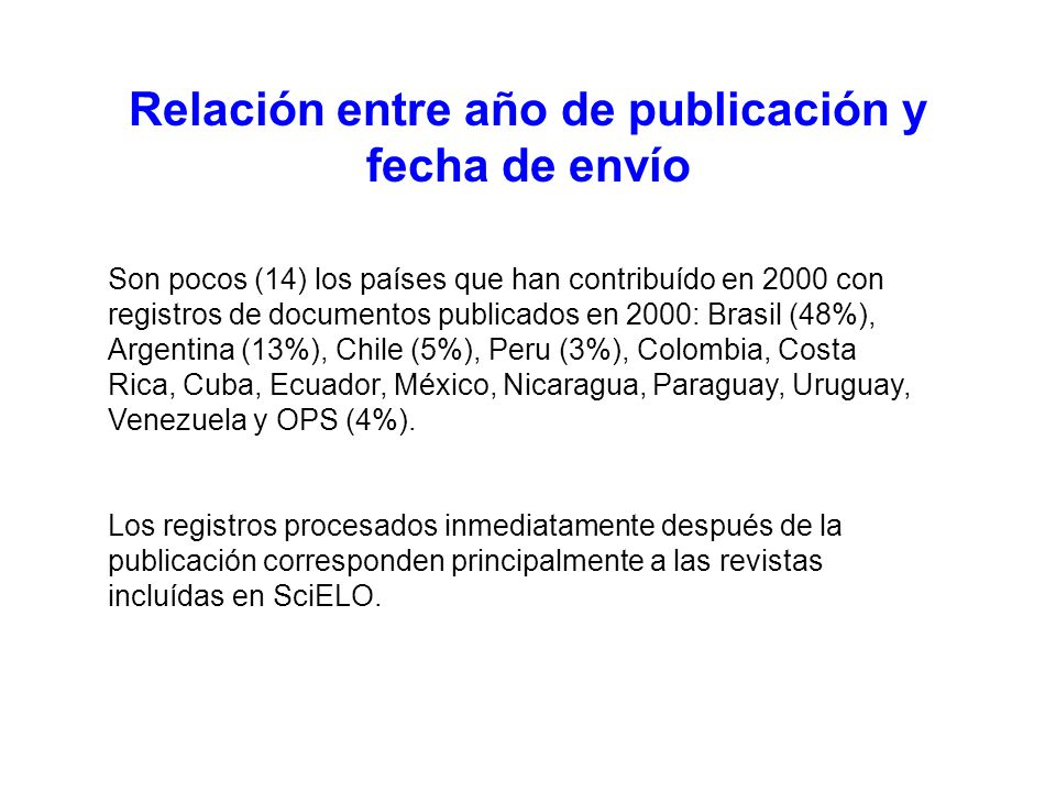 Relación entre año de publicación y fecha de envío Son pocos (14) los países que han contribuído en 2000 con registros de documentos publicados en 2000: Brasil (48%), Argentina (13%), Chile (5%), Peru (3%), Colombia, Costa Rica, Cuba, Ecuador, México, Nicaragua, Paraguay, Uruguay, Venezuela y OPS (4%).