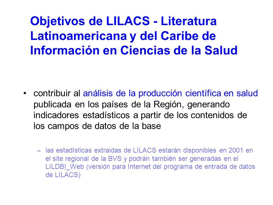 Objetivos de LILACS - Literatura Latinoamericana y del Caribe de Información en Ciencias de la Salud contribuir al análisis de la producción científica en salud publicada en los países de la Región, generando indicadores estadísticos a partir de los contenidos de los campos de datos de la base –las estadísticas extraidas de LILACS estarán disponibles en 2001 en el site regional de la BVS y podrán también ser generadas en el LILDBI_Web (versión para Internet del programa de entrada de datos de LILACS)