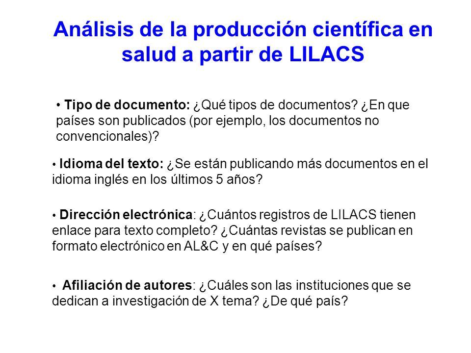 Análisis de la producción científica en salud a partir de LILACS Afiliación de autores: ¿Cuáles son las instituciones que se dedican a investigación de X tema.