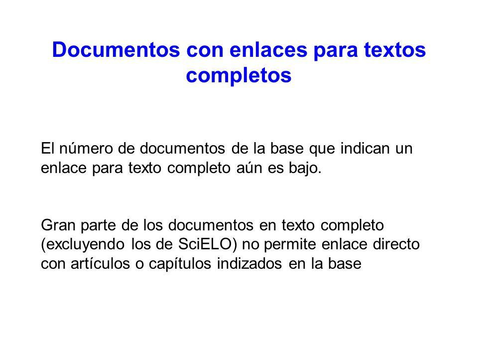 Documentos con enlaces para textos completos El número de documentos de la base que indican un enlace para texto completo aún es bajo.
