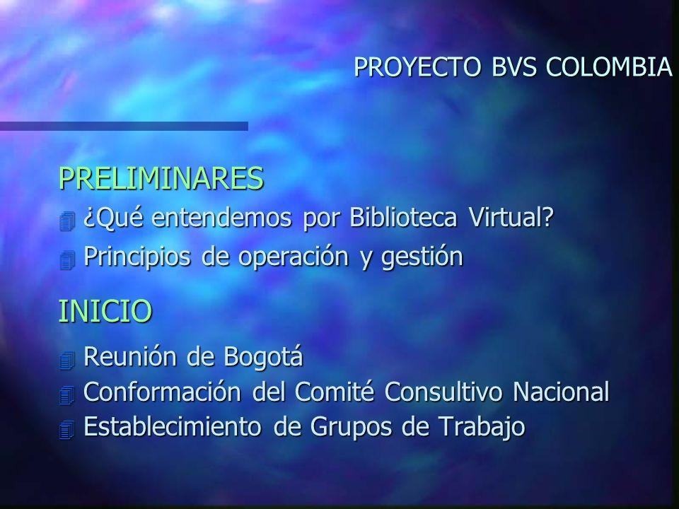 PROYECTO BVS COLOMBIA PRELIMINARES 4 ¿Qué entendemos por Biblioteca Virtual.