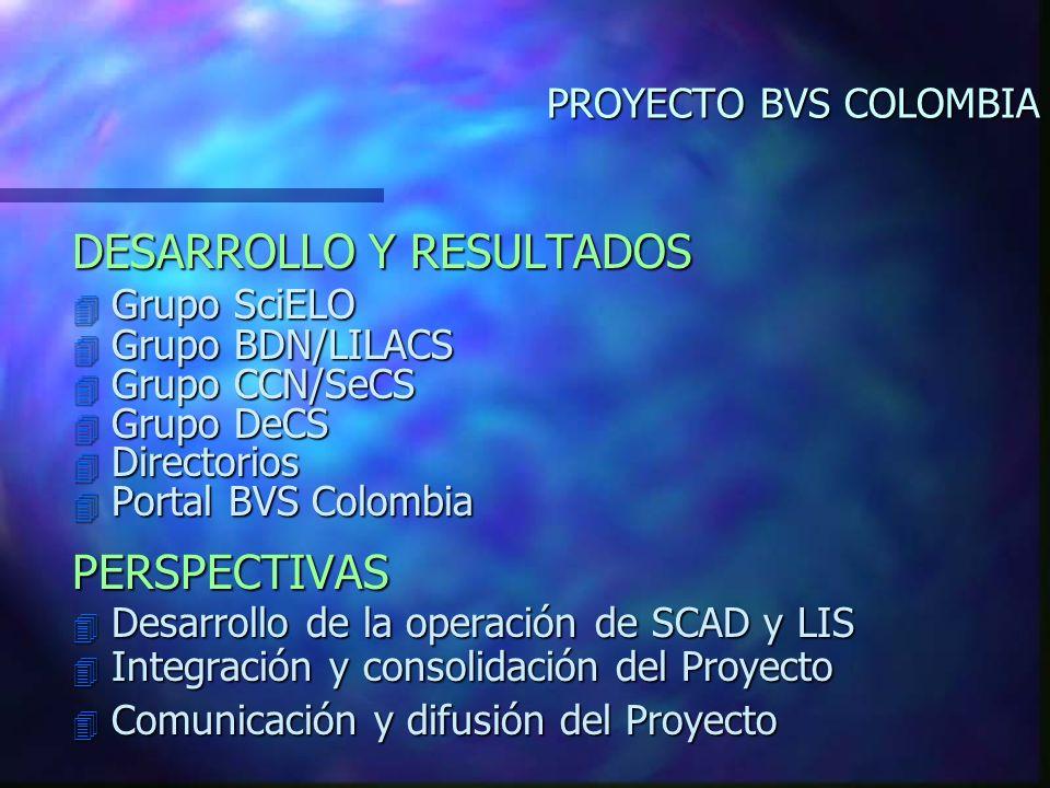 PROYECTO BVS COLOMBIA DESARROLLO Y RESULTADOS 4 Grupo SciELO 4 Grupo BDN/LILACS 4 Grupo CCN/SeCS 4 Grupo DeCS 4 Directorios 4 Portal BVS Colombia PERSPECTIVAS 4 Desarrollo de la operación de SCAD y LIS 4 Integración y consolidación del Proyecto 4 Comunicación y difusión del Proyecto