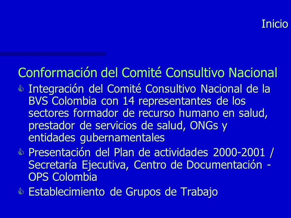 Inicio Conformación del Comité Consultivo Nacional Integración del Comité Consultivo Nacional de la BVS Colombia con 14 representantes de los sectores formador de recurso humano en salud, prestador de servicios de salud, ONGs y entidades gubernamentales Integración del Comité Consultivo Nacional de la BVS Colombia con 14 representantes de los sectores formador de recurso humano en salud, prestador de servicios de salud, ONGs y entidades gubernamentales Presentación del Plan de actividades 2000-2001 / Secretaría Ejecutiva, Centro de Documentación - OPS Colombia Presentación del Plan de actividades 2000-2001 / Secretaría Ejecutiva, Centro de Documentación - OPS Colombia Establecimiento de Grupos de Trabajo Establecimiento de Grupos de Trabajo
