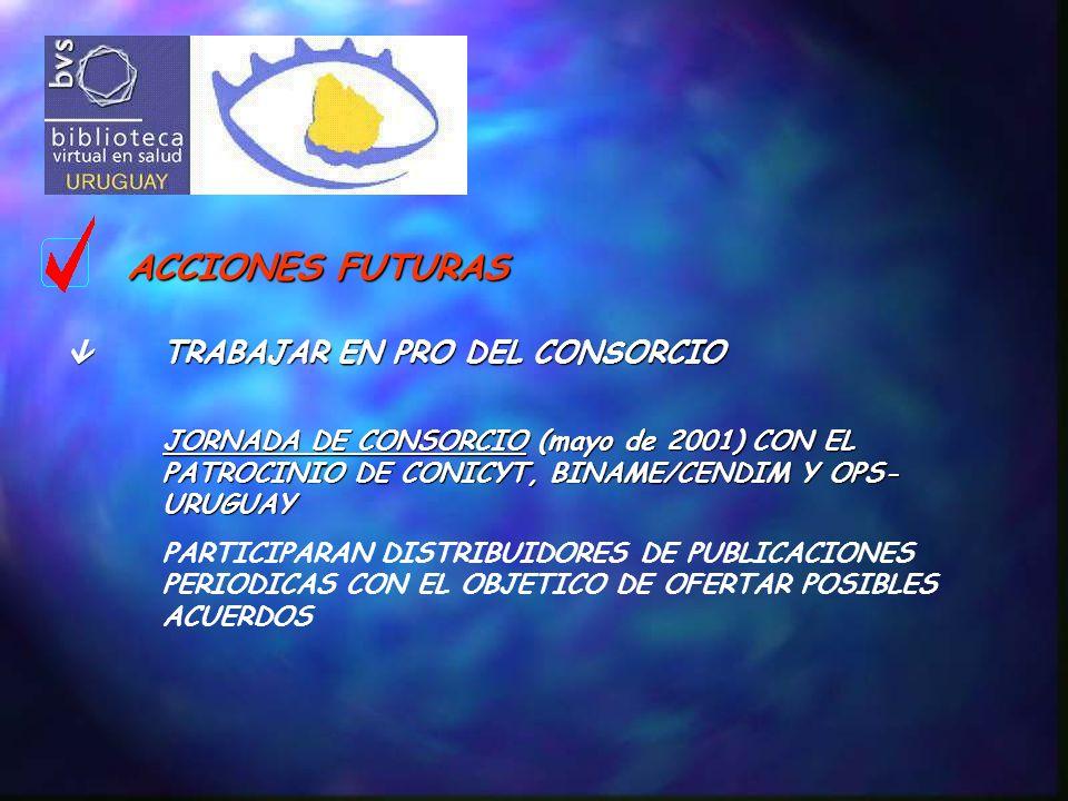 ACCIONES FUTURAS TRABAJAR EN PRO DEL CONSORCIO JORNADA DE CONSORCIO (mayo de 2001) CON EL PATROCINIO DE CONICYT, BINAME/CENDIM Y OPS- URUGUAY PARTICIPARAN DISTRIBUIDORES DE PUBLICACIONES PERIODICAS CON EL OBJETICO DE OFERTAR POSIBLES ACUERDOS