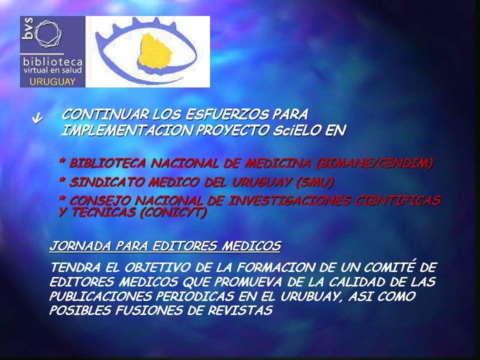 CONTINUAR LOS ESFUERZOS PARA IMPLEMENTACION PROYECTO SciELO EN * BIBLIOTECA NACIONAL DE MEDICINA (BIMANE/CENDIM) * SINDICATO MEDICO DEL URUGUAY (SMU) * CONSEJO NACIONAL DE INVESTIGACIONES CIENTIFICAS Y TECNICAS (CONICYT) JORNADA PARA EDITORES MEDICOS TENDRA EL OBJETIVO DE LA FORMACION DE UN COMITÉ DE EDITORES MEDICOS QUE PROMUEVA DE LA CALIDAD DE LAS PUBLICACIONES PERIODICAS EN EL URUBUAY, ASI COMO POSIBLES FUSIONES DE REVISTAS