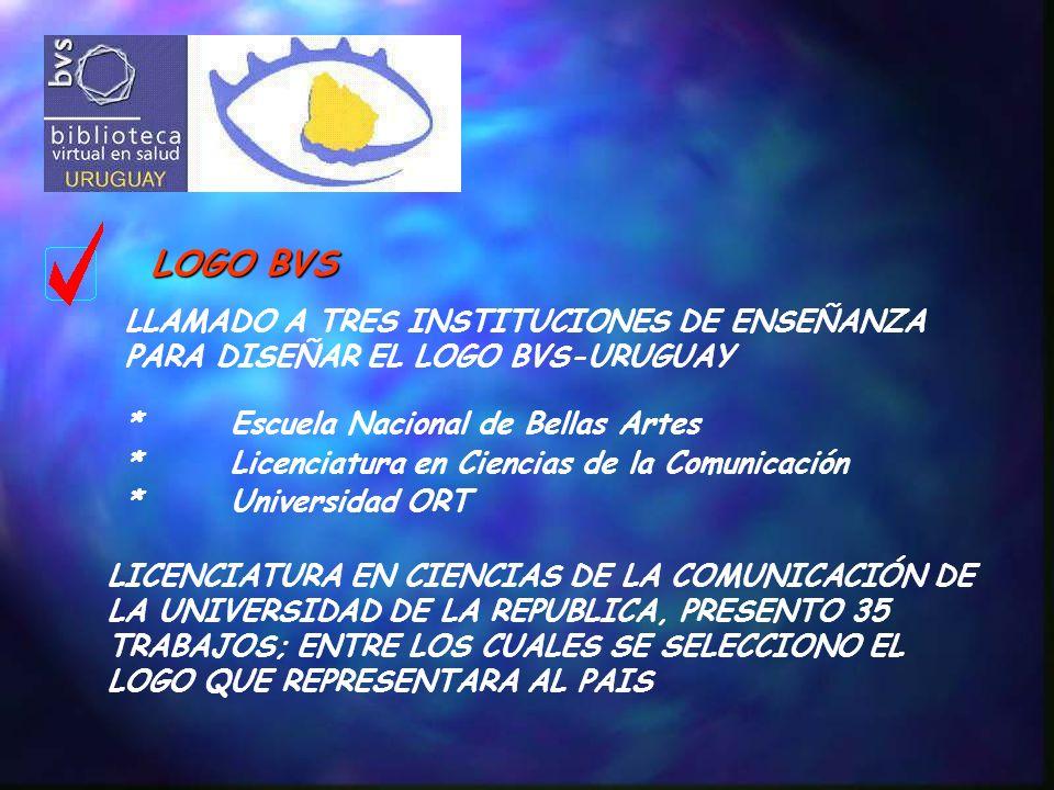 LOGO BVS LLAMADO A TRES INSTITUCIONES DE ENSEÑANZA PARA DISEÑAR EL LOGO BVS-URUGUAY *Escuela Nacional de Bellas Artes *Licenciatura en Ciencias de la Comunicación *Universidad ORT LICENCIATURA EN CIENCIAS DE LA COMUNICACIÓN DE LA UNIVERSIDAD DE LA REPUBLICA, PRESENTO 35 TRABAJOS; ENTRE LOS CUALES SE SELECCIONO EL LOGO QUE REPRESENTARA AL PAIS