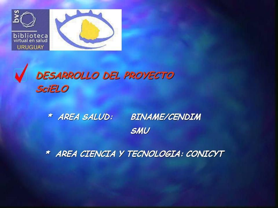 DESARROLLO DEL PROYECTO SciELO * AREA SALUD: BINAME/CENDIM SMU * AREA CIENCIA Y TECNOLOGIA: CONICYT
