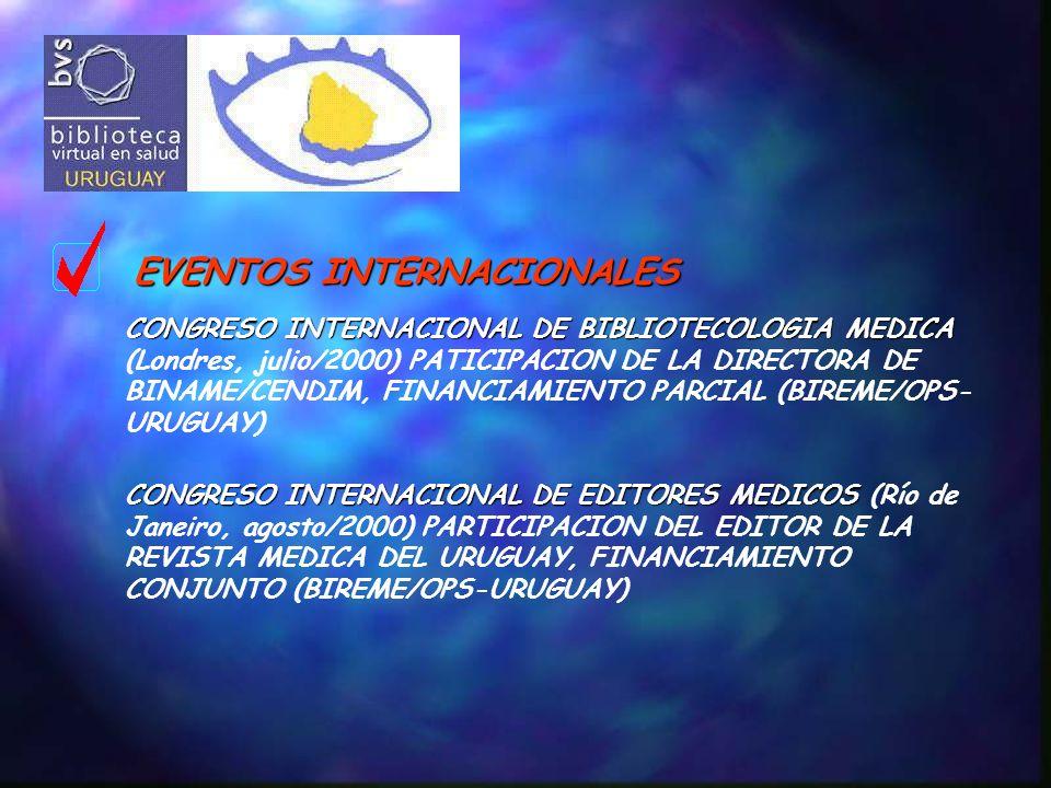 EVENTOS INTERNACIONALES CONGRESO INTERNACIONAL DE BIBLIOTECOLOGIA MEDICA CONGRESO INTERNACIONAL DE BIBLIOTECOLOGIA MEDICA (Londres, julio/2000) PATICIPACION DE LA DIRECTORA DE BINAME/CENDIM, FINANCIAMIENTO PARCIAL (BIREME/OPS- URUGUAY) CONGRESO INTERNACIONAL DE EDITORES MEDICOS CONGRESO INTERNACIONAL DE EDITORES MEDICOS (Río de Janeiro, agosto/2000) PARTICIPACION DEL EDITOR DE LA REVISTA MEDICA DEL URUGUAY, FINANCIAMIENTO CONJUNTO (BIREME/OPS-URUGUAY)