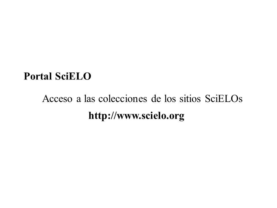 Portal SciELO Acceso a las colecciones de los sitios SciELOs http://www.scielo.org